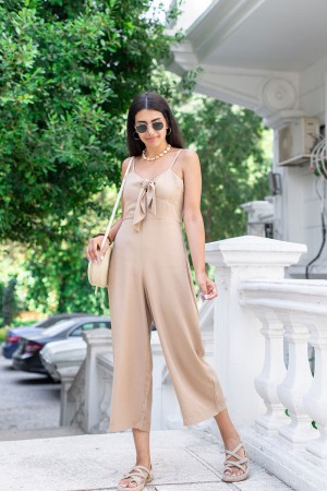 Beige Front Tethered Jumpsuit
