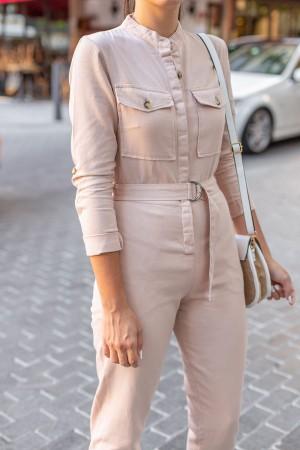 Beige Pocket Detailed Long Sleeve Jumpsuit