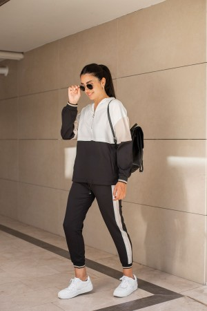 Three Color Hooded Tracksuit Set