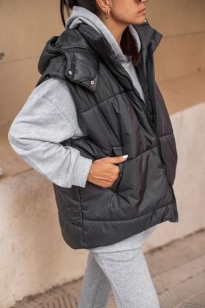 Black Hooded Puffer Vest