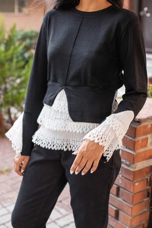 Black Under White Layer Detail Sweater
