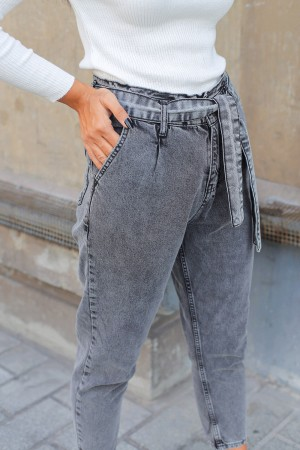 Anthracite Gray Belted High Waist Jeans