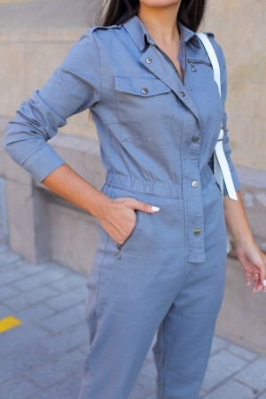Anthracite Gathered Long Sleeve Jumpsuit