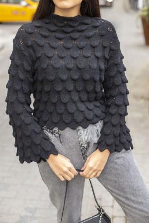 Black Drop Pattern Knitwear Sweater