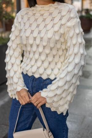 Cream Drop Pattern Knitwear Sweater