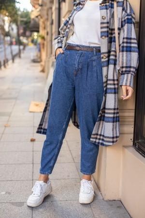 Blue High Waist Belt Trousers