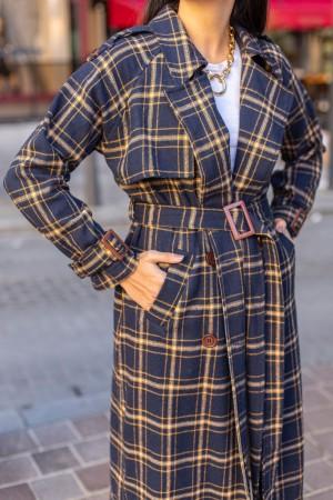 Navy Checkered Trench Coat