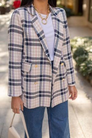 Ecru Checkered Jacket