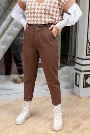 Brown High Waist Belt Trousers