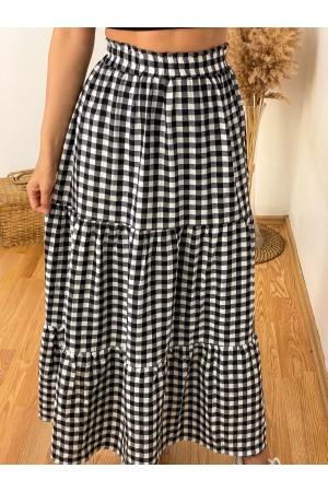 Black Check Ruffle Detail Long Skirt