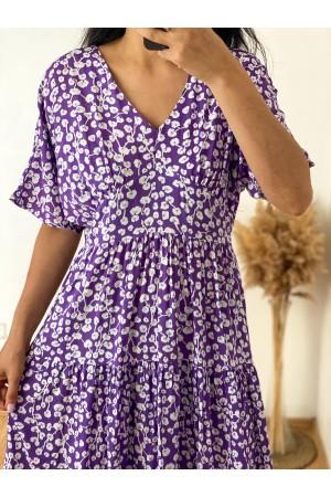 Lilac Bud Patterned V-Neck Dress