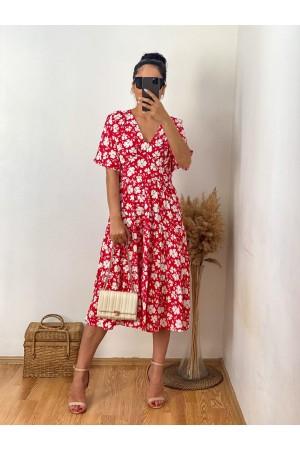 Red Large Flower Detailed V-Neck Dress