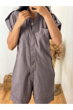 Gray Judge Collar Epaulette Detailed Jumpsuit