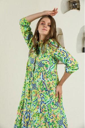 Green Mixed Pattern Shirt Collar Long Sleeve Dress
