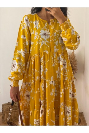 Yellow Floral Patterned Elastic Ankle Detailed Dress