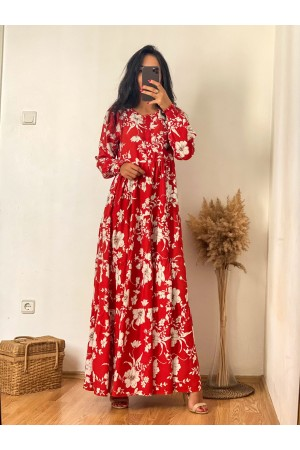 Red Floral Patterned Elastic Ankle Detailed Dress