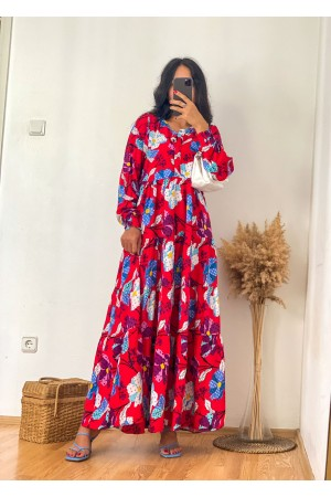 Red Large Floral Elastic Ankle Maxi Dress