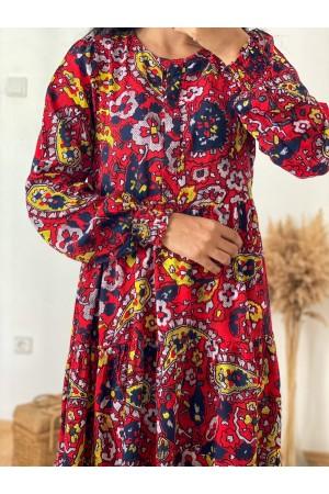 Red Elastic Black Patterned Dress