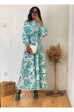 White Green Floral Round Neck Belted Dress