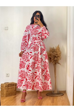 White Red Floral Round Neck Belted Dress