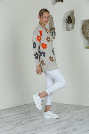 Cream Floral Patterned Buttoned Cardigan