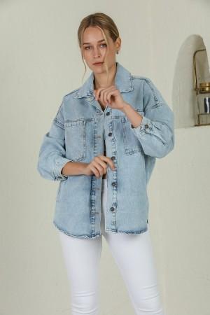 Ice Blue Buttoned Denim Jacket