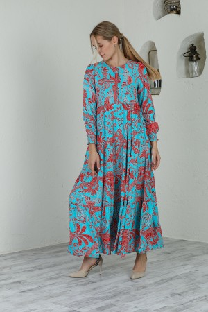 Blue Red Patterned Elastic Ankle Maxi Length Dress