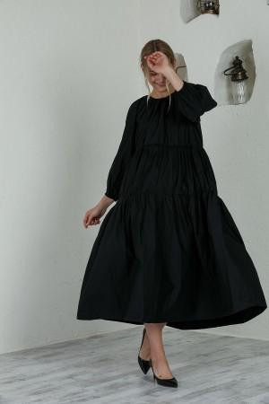 Black Crew Neck Poplin Dress
