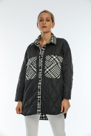 Black Buttoned Plaid Detailed Coat