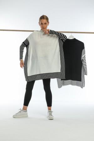 Black Striped Piece Detailed Poncho