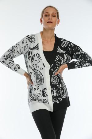 Black Drop Pattern Buttoned Cardigan