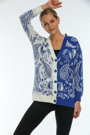 Blue Drop Pattern Buttoned Cardigan