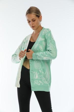 Green Drop Pattern Buttoned Cardigan