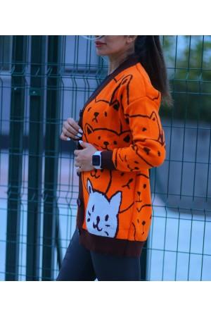 Orange Cat Patterned Buttoned Cardigan