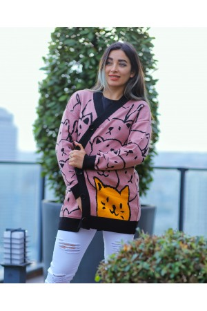 Dried Rose Cat Patterned Buttoned Cardigan