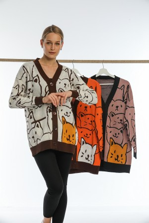 Cream Color Cat Patterned Buttoned Cardigan