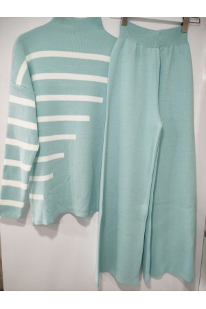 Mint Half Turtleneck Spanish Leg Striped Knitwear Set
