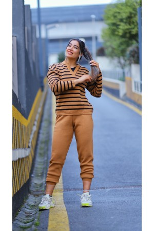 Brown V-Neck Striped Knitwear Set