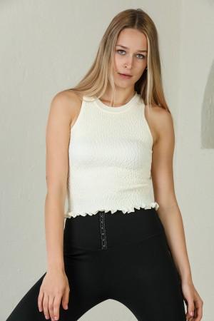 Ecru Embossed Skirt Frill Detailed Sleeveless Knitwear