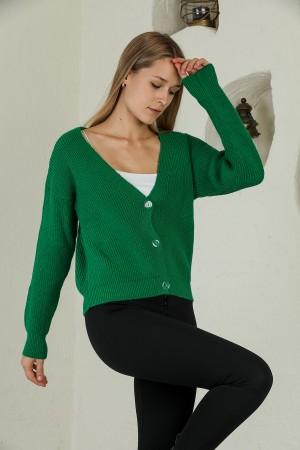 Green Buttoned Knitwear Cardigan