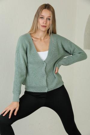 Mint Buttoned Knitwear Cardigan