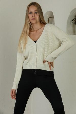 Ecru Buttoned Knitwear Cardigan