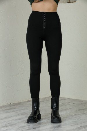 Black Attached Extra High Waist Leggings