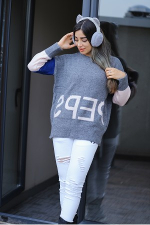 Smoked Printed Color Block Sweater