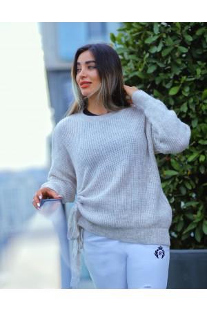 Beige Side Drawstring Knitwear Sweater
