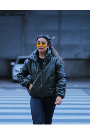 Khaki Leather Look Inflatable Coat